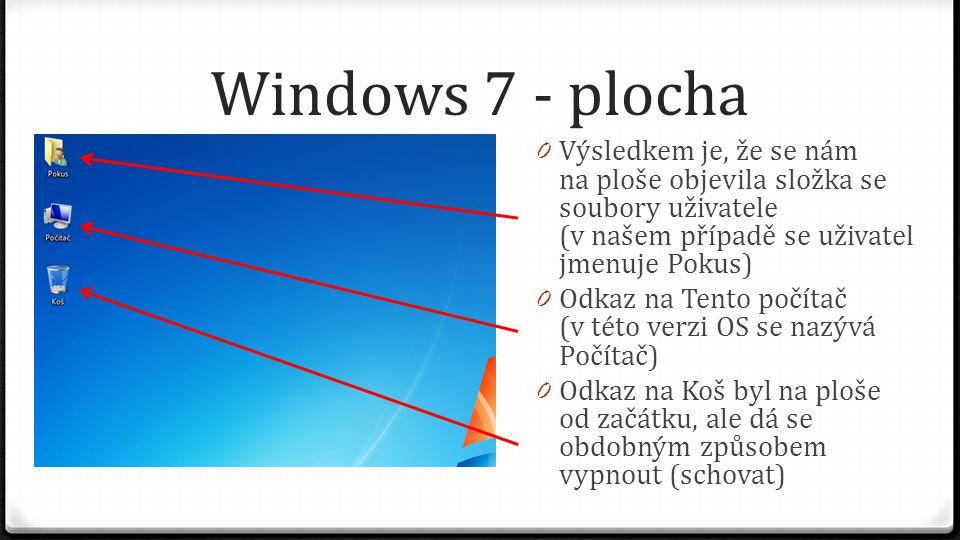 Windows 7 - plocha Výsledkem je, že se nám na ploše objevila složka se soubory uživatele (v našem případě se uživatel jmenuje Pokus)
