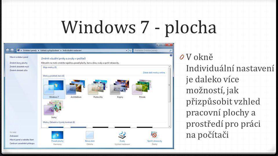 Windows 7 - plocha V okně Individuální nastavení je daleko více možností, jak přizpůsobit vzhled pracovní plochy a prostředí pro práci na počítači.