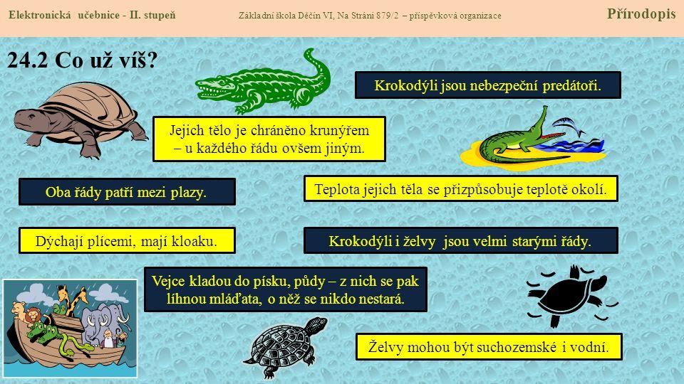 24.2 Co už víš Krokodýli jsou nebezpeční predátoři.