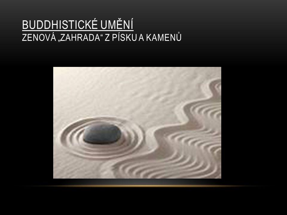 """Buddhistické umění Zenová """"zahrada z písku a kamenů"""