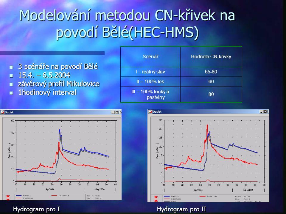 Modelování metodou CN-křivek na povodí Bělé(HEC-HMS)