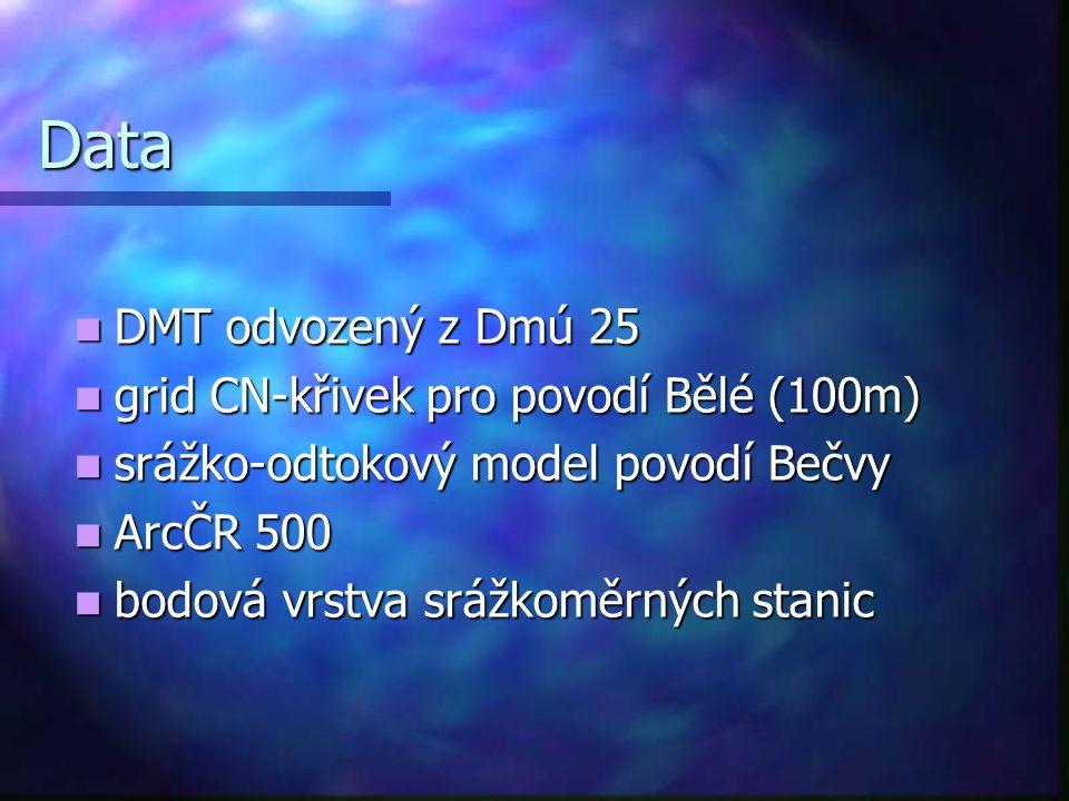 Data DMT odvozený z Dmú 25 grid CN-křivek pro povodí Bělé (100m)