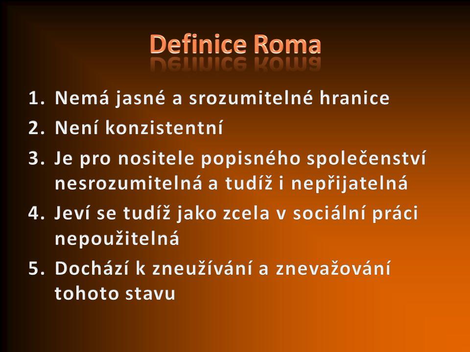 Definice Roma Nemá jasné a srozumitelné hranice Není konzistentní