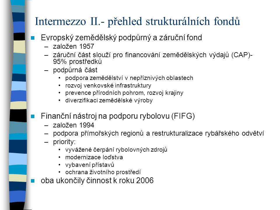 Intermezzo II.- přehled strukturálních fondů