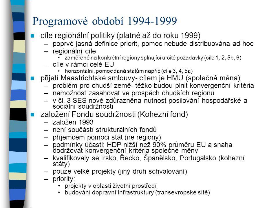 Programové období 1994-1999 cíle regionální politiky (platné až do roku 1999) poprvé jasná definice priorit, pomoc nebude distribuována ad hoc.
