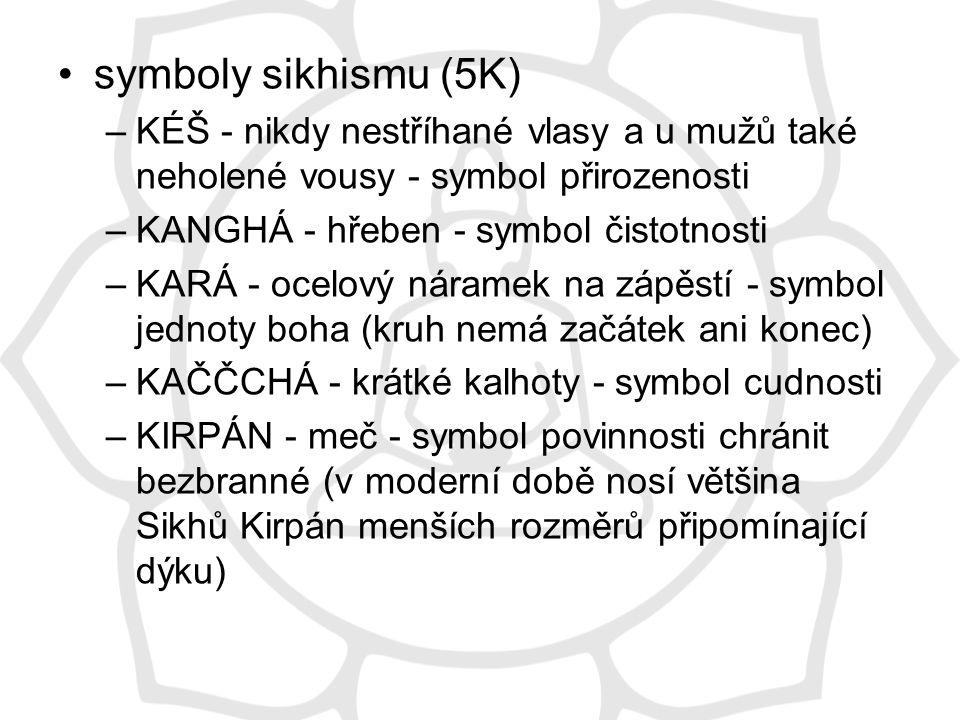 symboly sikhismu (5K) KÉŠ - nikdy nestříhané vlasy a u mužů také neholené vousy - symbol přirozenosti.