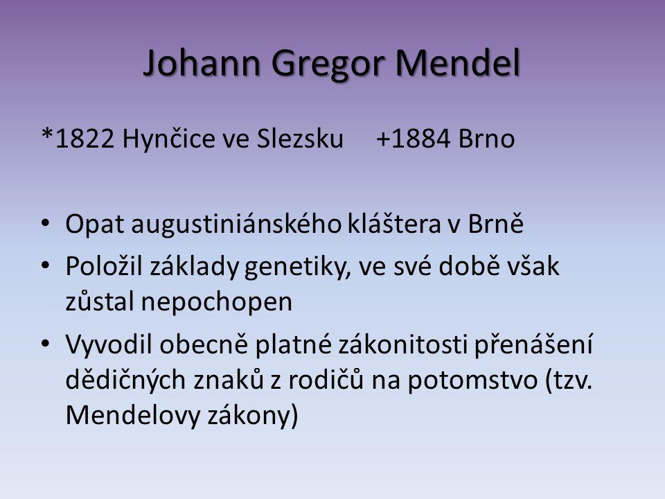 Johann Gregor Mendel *1822 Hynčice ve Slezsku +1884 Brno