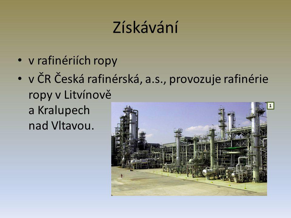 Získávání v rafinériích ropy