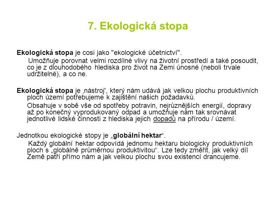 7. Ekologická stopa Ekologická stopa je cosi jako ekologické účetnictví .