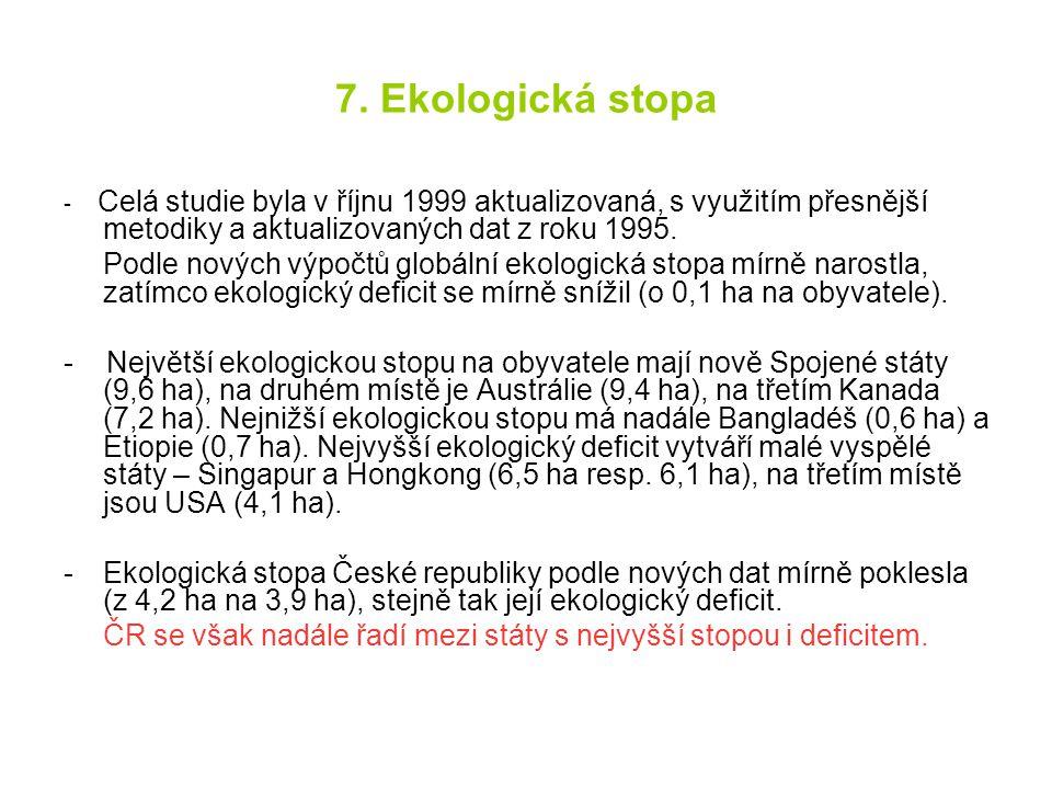 7. Ekologická stopa - Celá studie byla v říjnu 1999 aktualizovaná, s využitím přesnější metodiky a aktualizovaných dat z roku 1995.
