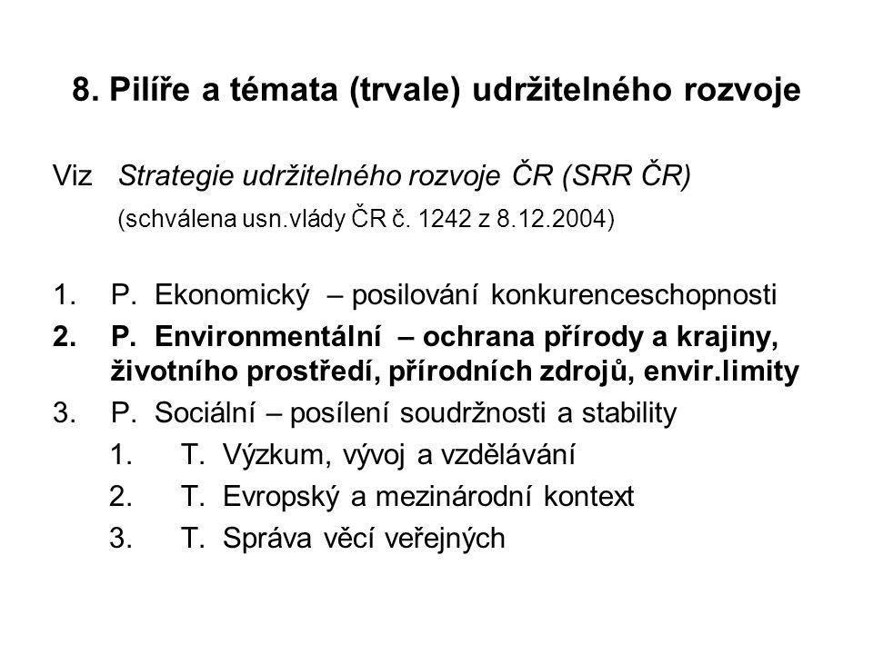 8. Pilíře a témata (trvale) udržitelného rozvoje