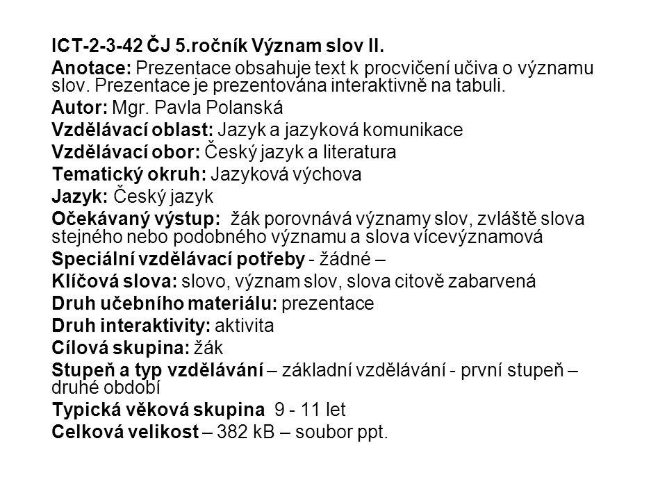 ICT-2-3-42 ČJ 5.ročník Význam slov II.