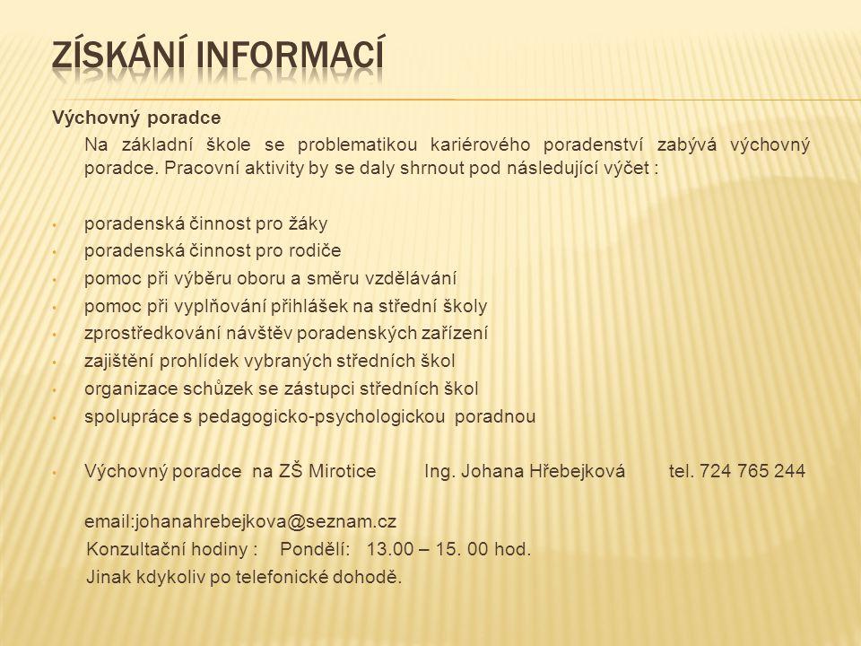Získání informací Výchovný poradce