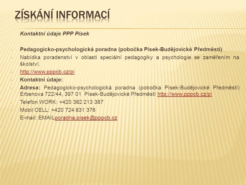 Získání informací Kontaktní údaje PPP Písek