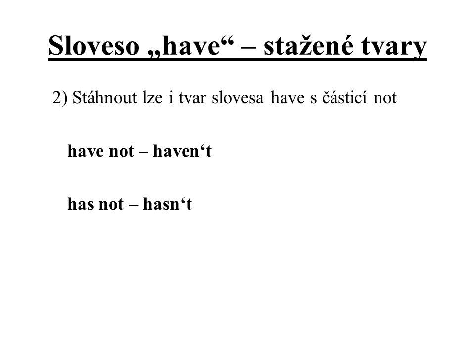 """Sloveso """"have – stažené tvary"""