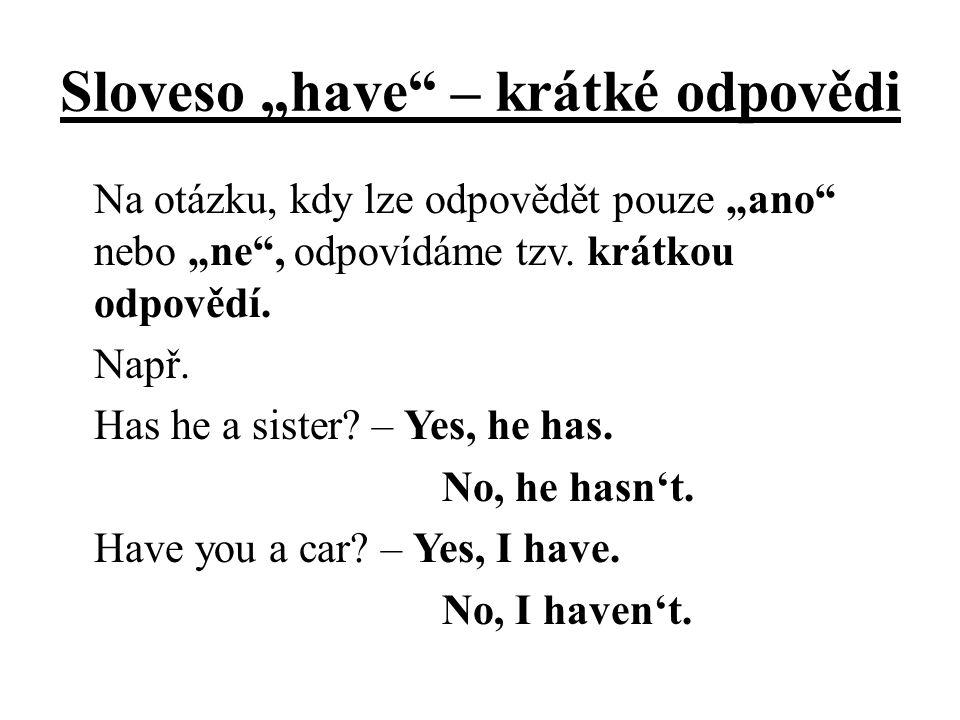 """Sloveso """"have – krátké odpovědi"""