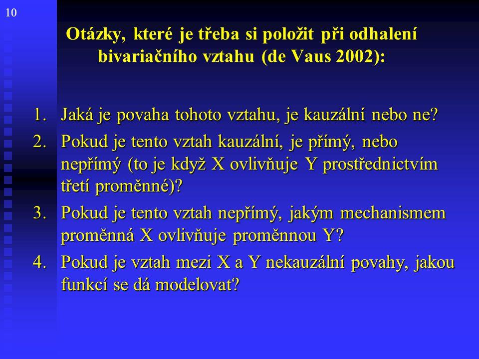 Otázky, které je třeba si položit při odhalení bivariačního vztahu (de Vaus 2002):
