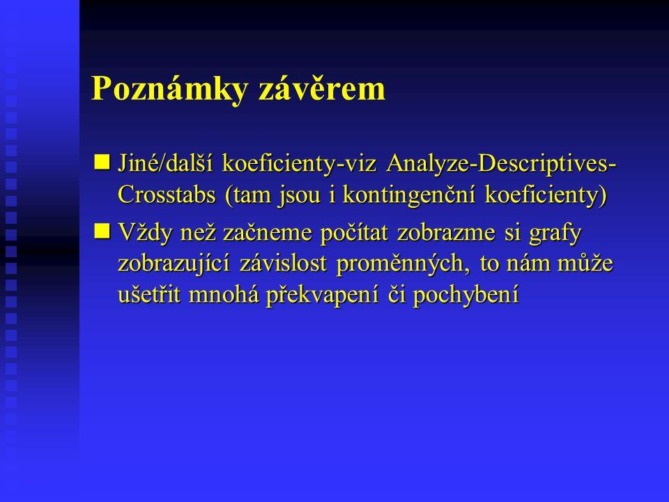 Poznámky závěrem Jiné/další koeficienty-viz Analyze-Descriptives-Crosstabs (tam jsou i kontingenční koeficienty)