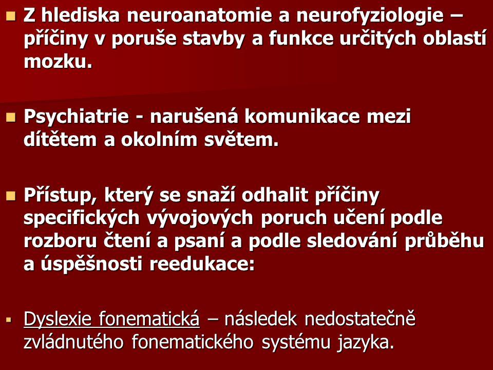 Z hlediska neuroanatomie a neurofyziologie – příčiny v poruše stavby a funkce určitých oblastí mozku.
