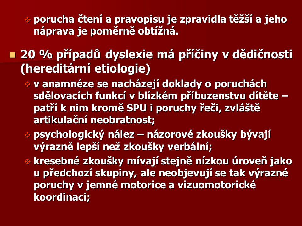 20 % případů dyslexie má příčiny v dědičnosti (hereditární etiologie)
