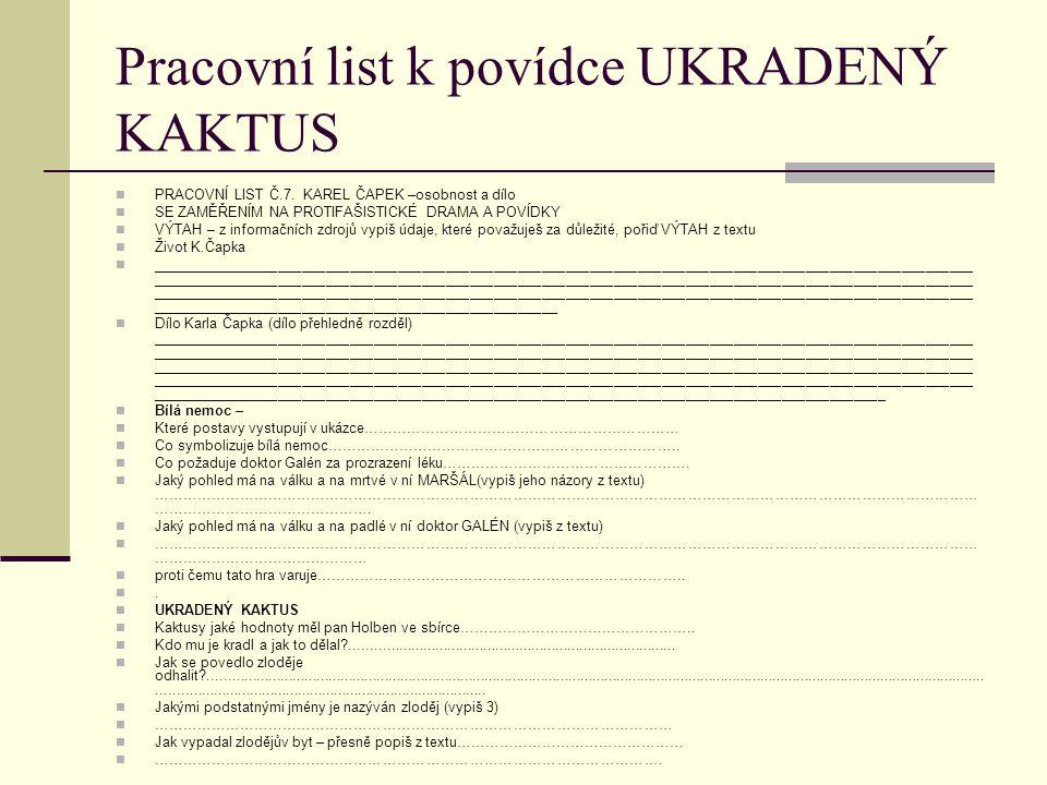 Pracovní list k povídce UKRADENÝ KAKTUS