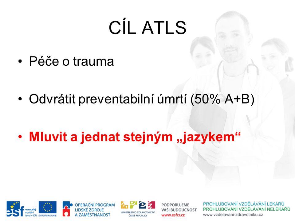 CÍL ATLS Péče o trauma Odvrátit preventabilní úmrtí (50% A+B)