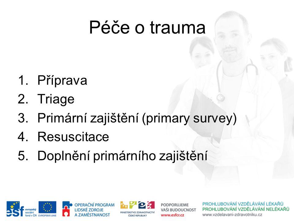 Péče o trauma Příprava Triage Primární zajištění (primary survey)