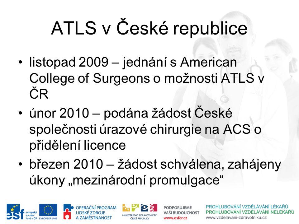 ATLS v České republice listopad 2009 – jednání s American College of Surgeons o možnosti ATLS v ČR.