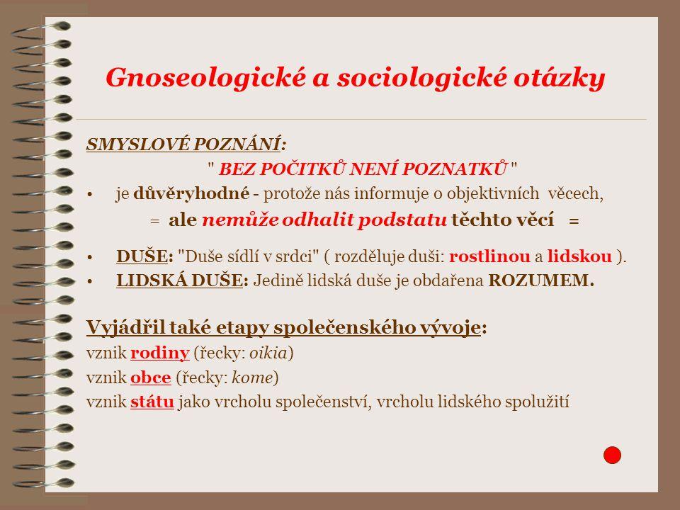Gnoseologické a sociologické otázky