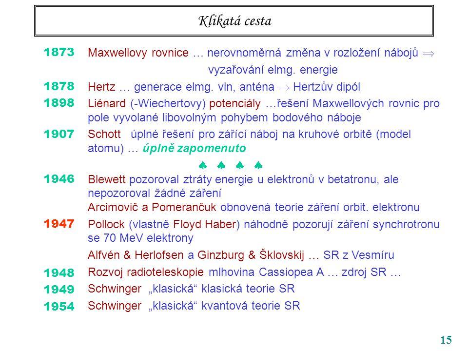 Klikatá cesta 1873. 1878. 1898. 1907. 1946. 1947. 1948. 1949. 1954. Maxwellovy rovnice … nerovnoměrná změna v rozložení nábojů 