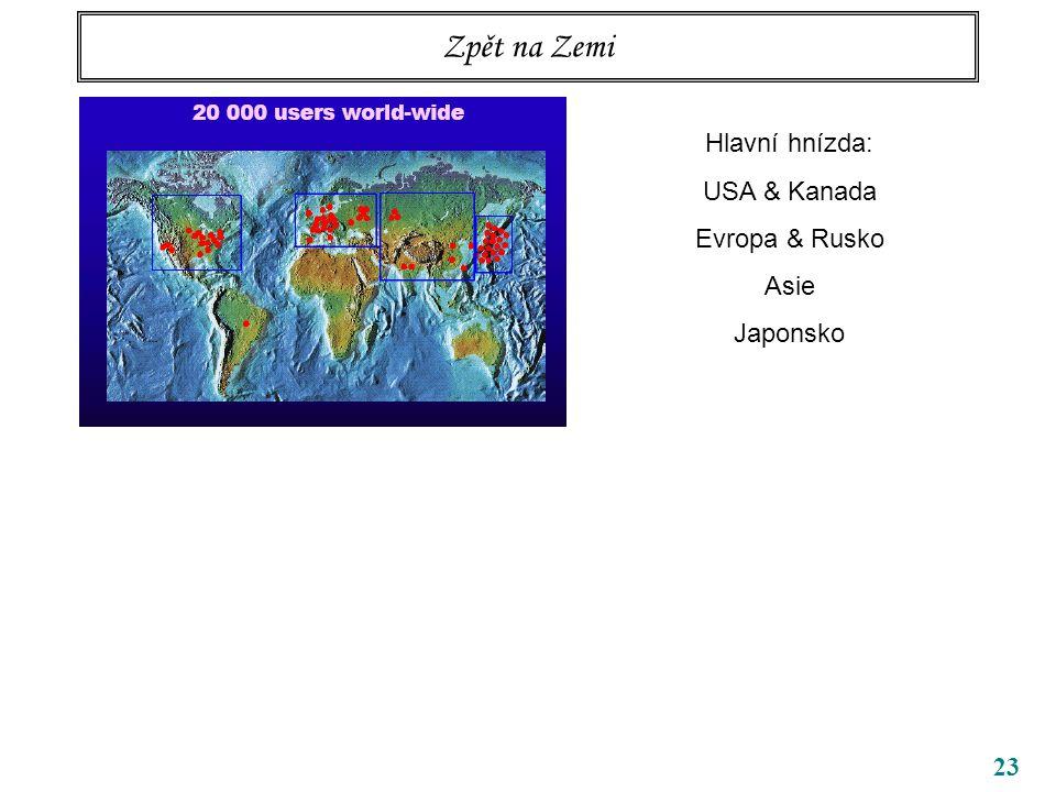 Zpět na Zemi Hlavní hnízda: USA & Kanada Evropa & Rusko Asie Japonsko