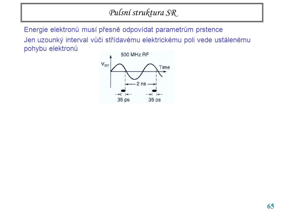 Pulsní struktura SR Energie elektronů musí přesně odpovídat parametrům prstence.