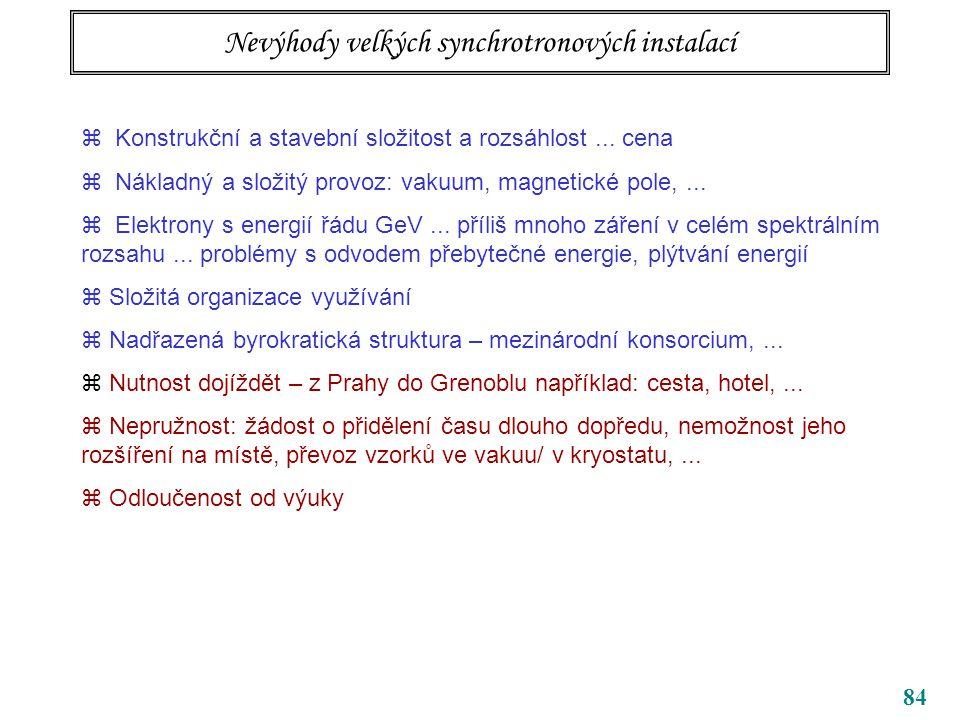 Nevýhody velkých synchrotronových instalací