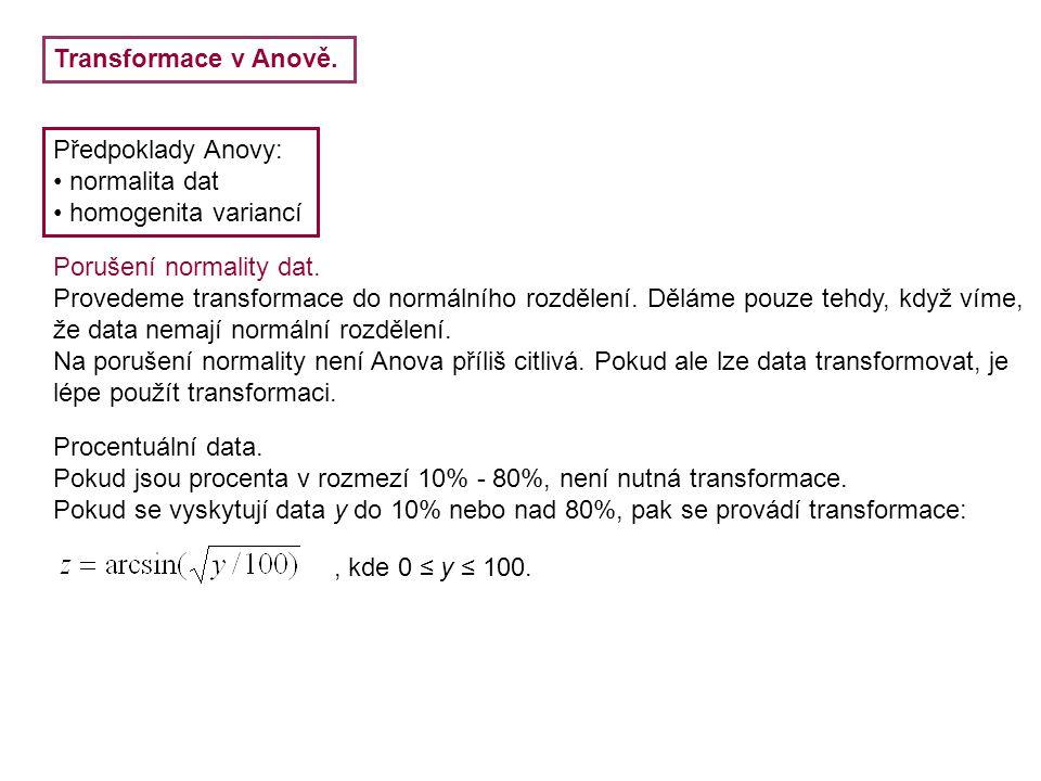 Transformace v Anově. Předpoklady Anovy: normalita dat. homogenita variancí. Porušení normality dat.