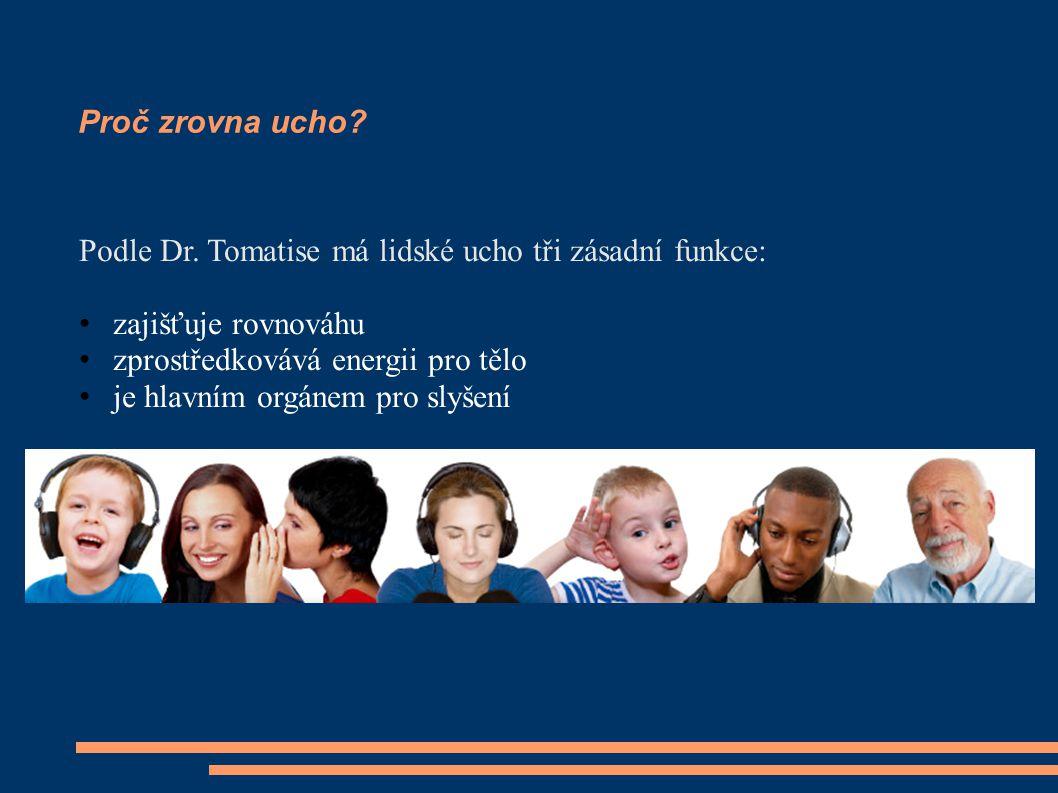 Proč zrovna ucho Podle Dr. Tomatise má lidské ucho tři zásadní funkce: zajišťuje rovnováhu. zprostředkovává energii pro tělo.