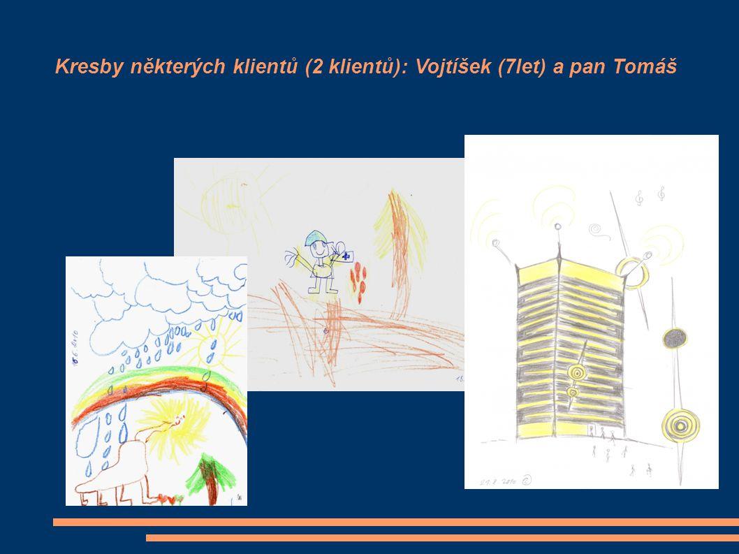 Kresby některých klientů (2 klientů): Vojtíšek (7let) a pan Tomáš