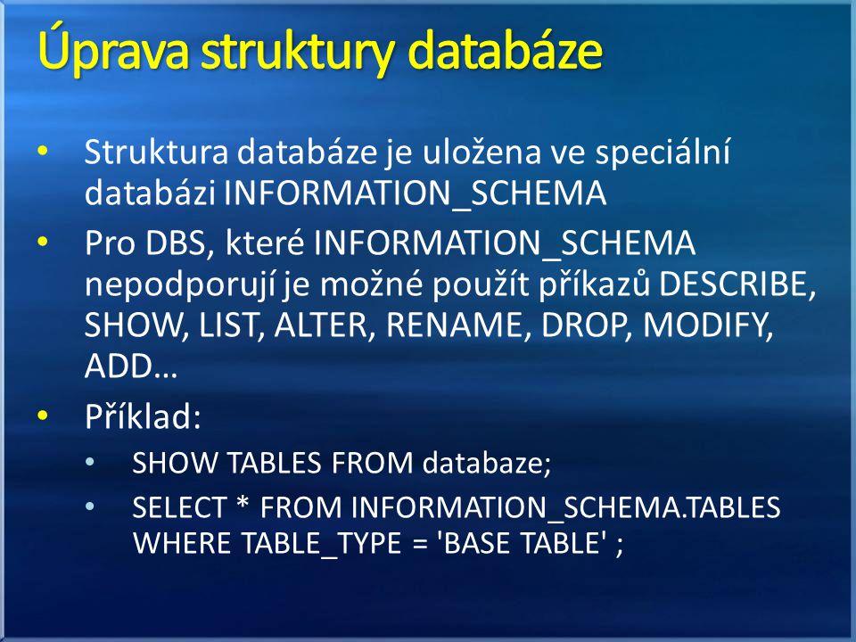 Úprava struktury databáze