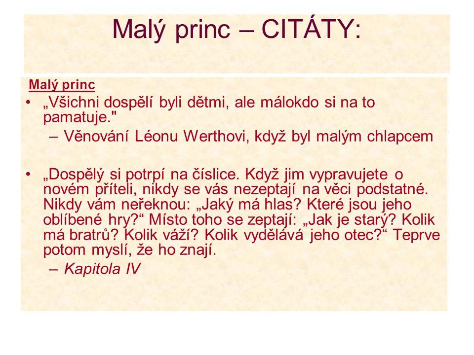 """Malý princ – CITÁTY: Malý princ. """"Všichni dospělí byli dětmi, ale málokdo si na to pamatuje. Věnování Léonu Werthovi, když byl malým chlapcem."""