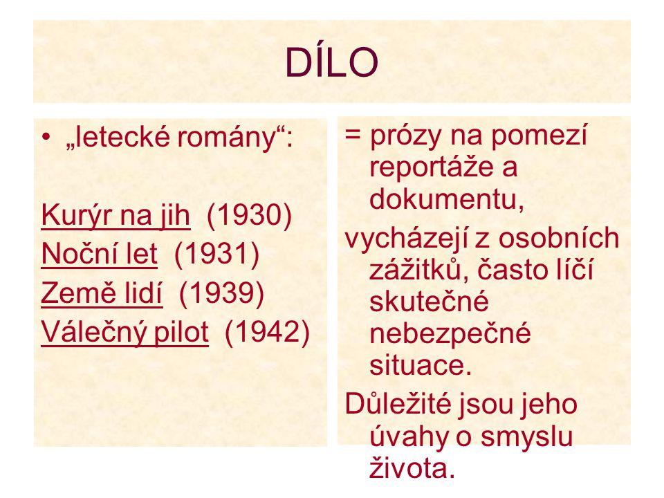 """DÍLO """"letecké romány : = prózy na pomezí reportáže a dokumentu,"""