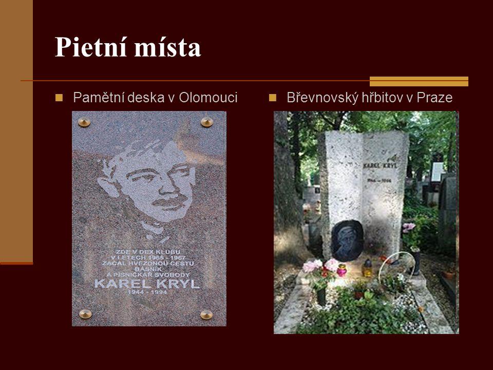Pietní místa Pamětní deska v Olomouci Břevnovský hřbitov v Praze