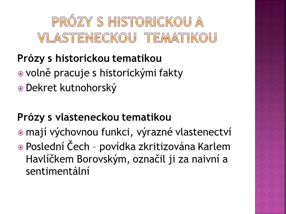 Prózy s historickou a vlasteneckou tematikou