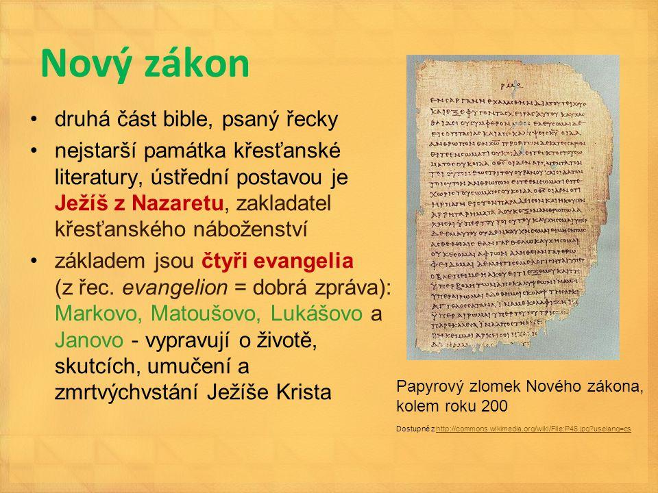 Nový zákon druhá část bible, psaný řecky