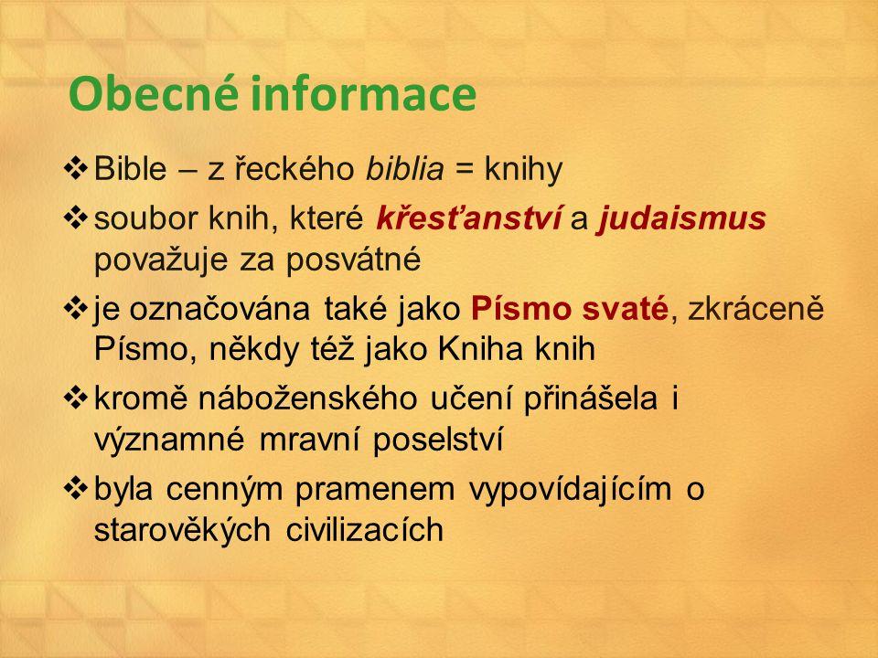 Obecné informace Bible – z řeckého biblia = knihy