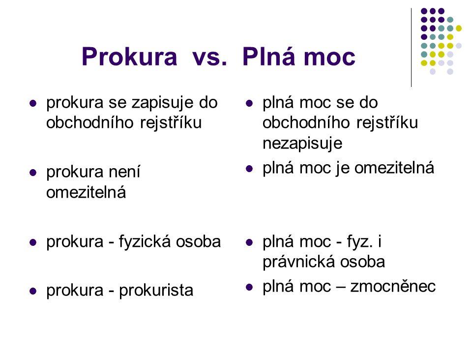Prokura vs. Plná moc prokura se zapisuje do obchodního rejstříku