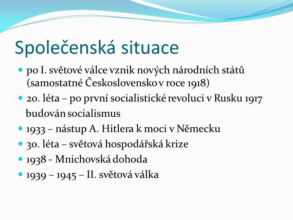 Společenská situace po I. světové válce vznik nových národních států (samostatné Československo v roce 1918)