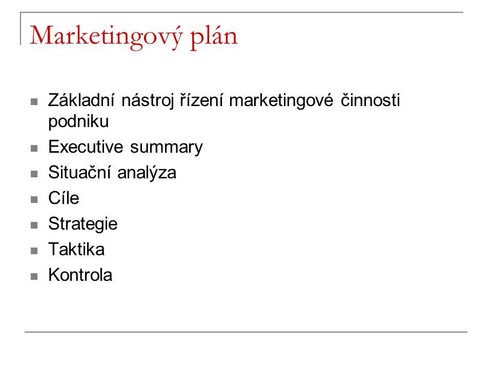 Marketingový plán Základní nástroj řízení marketingové činnosti podniku. Executive summary. Situační analýza.