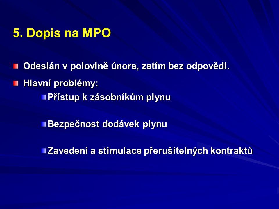 5. Dopis na MPO Odeslán v polovině února, zatím bez odpovědi.