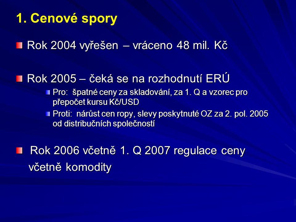 1. Cenové spory Rok 2004 vyřešen – vráceno 48 mil. Kč
