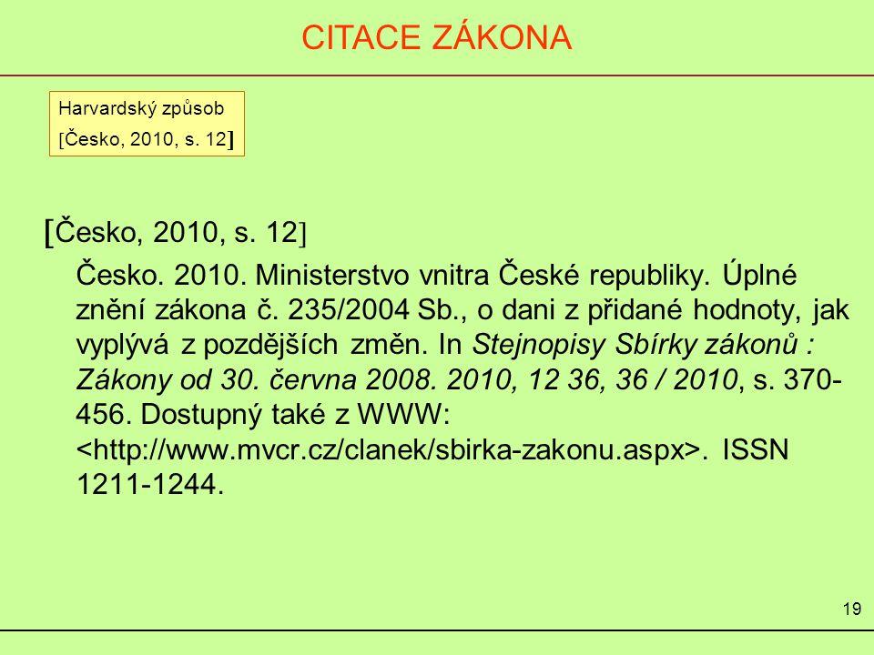 CITACE ZÁKONA Česko, 2010, s. 12