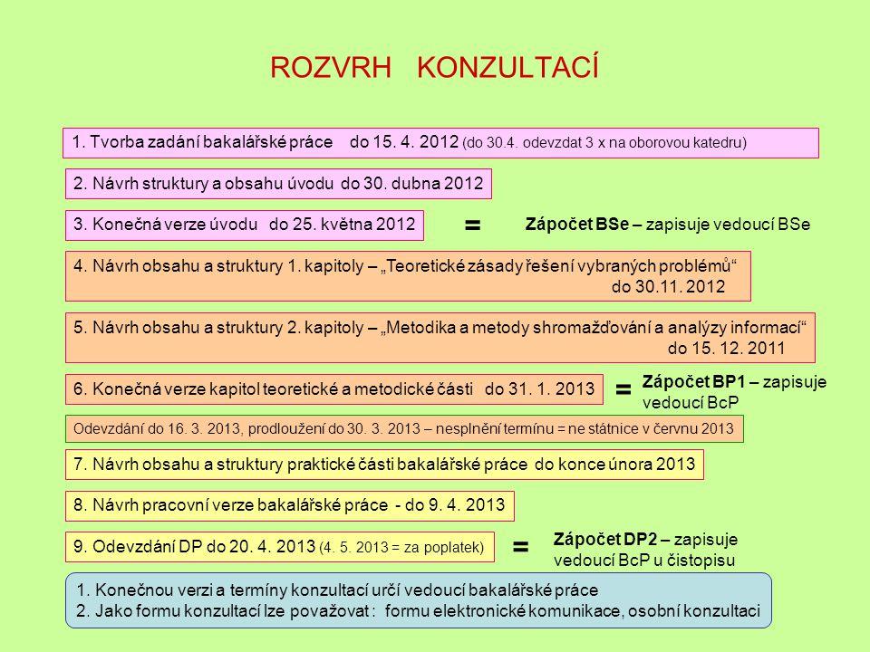 ROZVRH KONZULTACÍ 1. Tvorba zadání bakalářské práce do 15. 4. 2012 (do 30.4. odevzdat 3 x na oborovou katedru)